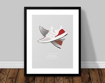 adidas Originals Ultra Boost Mulitcolour 2.0  |  Car Illustrated Poster Print   |   A5 A4 A3