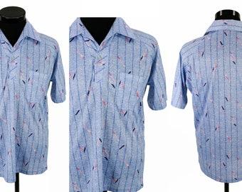 Vintage 1970s Mens Blue Stripe Shirt By Dache Size M