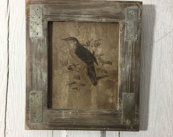 Barnwood Salvaged Bird Print Art