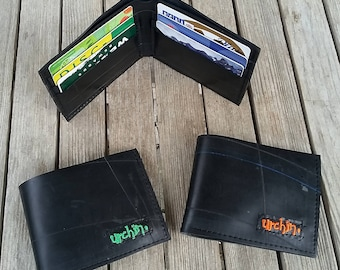 Bike Tube Wallet - Black Billfold Wallet - Mens Vegan Wallet -  Bi-fold Wallet - vegan friendly wallet, recycled wallet