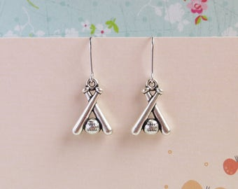 Baseball Team Spirit Earrings, Silver Bats And Ball, Super Mom Gift, Sports Jewelry For Her