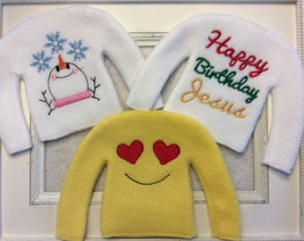 """Sweater for 12"""" dolls or one of  Santa's elves Three to choose  Can be Personalized"""