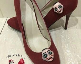 Ventriloquist Dummy Puppet Shoe Clip Heels Pumps Gothic Halloween Girl Fashion Handmade Beautiful Sculpture Art Painted Costume