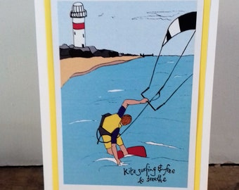 Kitesurfing/ kite surf original blank greetings card by Dorset Made. Drawing print. Detail: lighthouse on rocks with surfer on a red board.