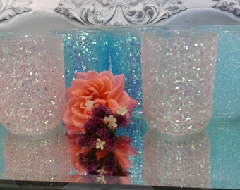 Glitter votives light pink and turquoise  wedding birthday party 15 the party anniversary special occasion 1.99 each