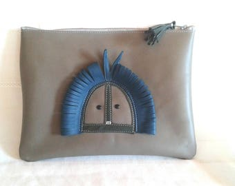 leather bag, gray and turquoise