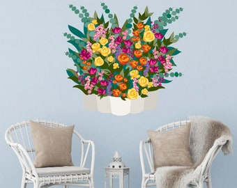 Wall Stickers-Plants and flowers-vase of flowers-yellow BUS