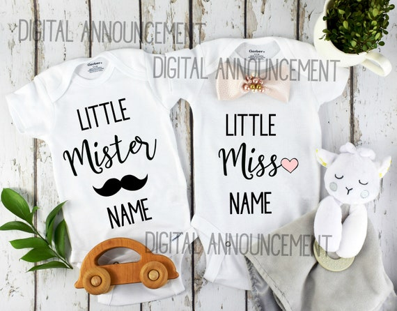 Twins Boy Girl Gender Reveal / Personalized Twin Baby Announcement