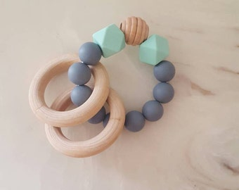 Mint/Grey Silicone Bead Teething ring, silicone teether, wood ring teether, baby teether