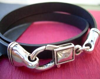 Leather Bracelet, Black, Double Wrap, Mens Bracelet, Womens Bracelet
