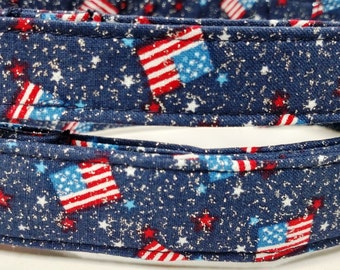 4th of July Glitter USA Flags- Dog Collar