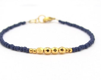 Navy Blue Bracelet, Seed Bead Bracelet, Gold Dark Blue Friendship Bracelet, Minimal Bracelet, Beaded Bracelet, Hawaiian Jewelry