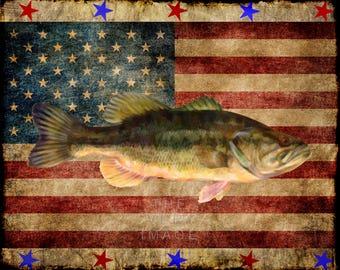 Fish Print, Largemouth Bass Art, Fish Art, Bass Poster US Flag Fishing Poster Gifts for Fisherman Man Cave #vi917
