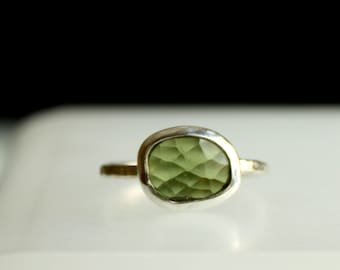 Green Tourmaline Ring - October Birthstone Ring - Hammered Band - Statement Ring - Freeform Flat Ring  OOAK US Size 6 1/4