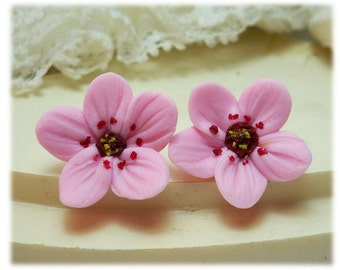 Pink Cherry Blossom Earrings Stud or Clip On - Cherry Blossom Jewelry, Sakura Jewelry