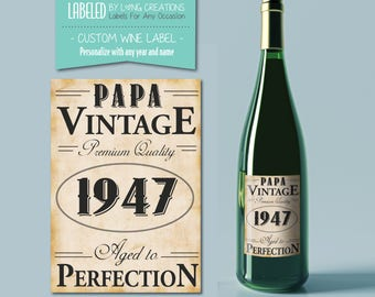 birthday label - vintage effect label - aged to perfection - birthday gift - wine gift - gift for him / man - custom design - waterproof