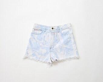 90s Guess Jeans 1990s Cut Off Shorts Acid Wash Rare Marbleized High Waisted Denim Mom Pastel Goth Soft Grunge Fringe Distressed Medium Large