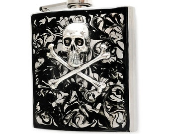 Steampunk Skull and Crossbones Flask Inlaid in Hand Painted Enamel Black Ink Swirl Available in Custom Colors and Personalized Options