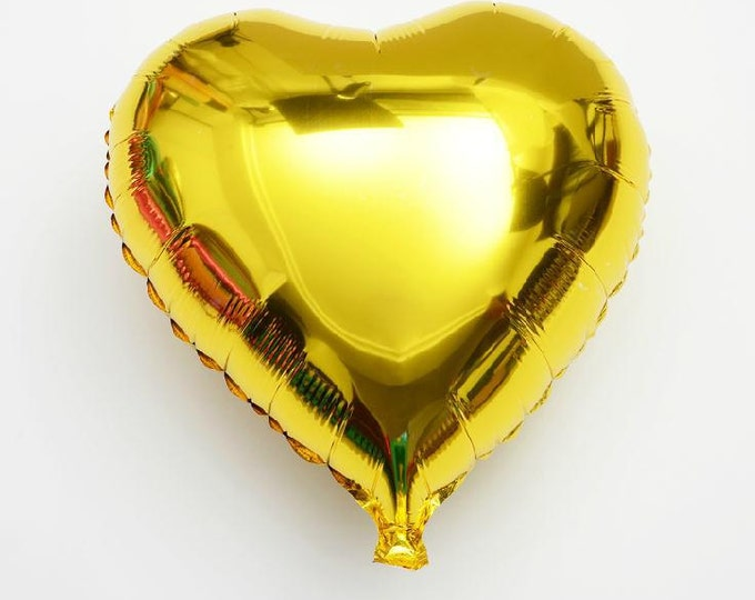 """Gold heart foil balloon 18"""" - perfect for wedding baby shower bridal shower photo shoot"""