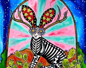 Jackalope Art, Mexican Folk Art, Texas Folk Art, Sugar Skull Art, Day of the Dead, Rabbit Print, Southwest Decor, Jackalopes, Mexican Decor