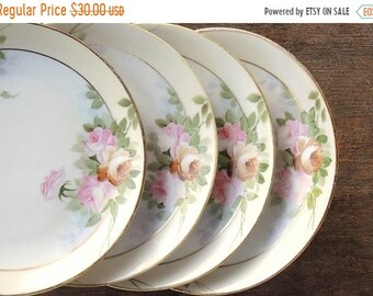AUF Verkauf hübsche Blumen Nippon Set Bread And Butter Teller 4 Hochzeiten Tee-Partys Cottage Stil Platten antike Teller