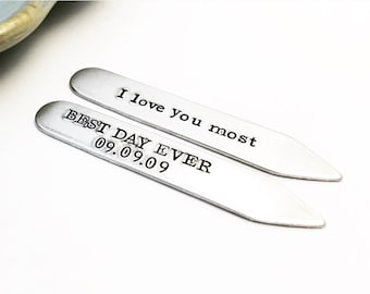 Personalized ~ Collar Stays ~ Father's Day gift ~ Gift Set for Him ~ Hand Stamped ~ Custom Men's Accessory ~  Gift for Dad ~ Anniversary