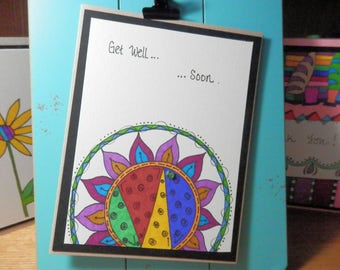 Get Well Card, Greeting Card, Get Well Soon, Blank Card,  Handmade, Card with Envelope