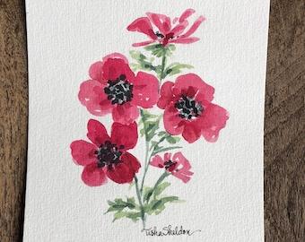 An Original Watercolor, Poppies