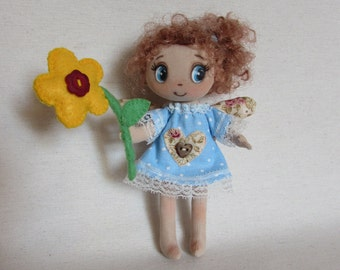 Rag Doll, Angel Doll, textile Doll, Girl Gift, Handmade doll,Miniature doll,mother's day, a gift to my mother, a gift for my grandmother
