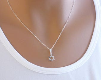 Star of David Necklace, Sterling Silver, Judaica Jewelry, Dainty Necklace, Magen David Necklace, Jewish jewelry