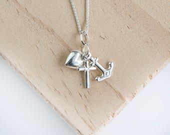 Sophia Faith Hope and Charity Pendant, Sterling Silver, Faith Necklace, Hope Necklace, Charity Necklace, Hope Anchor, Faith Cross, Heart
