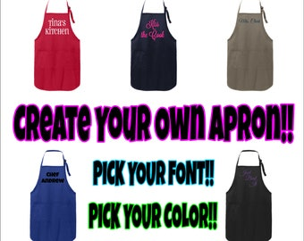Custom Text Apron, Create Your Own Apron, Custom Chef Apron, Personalized Apron, Unisex Apron