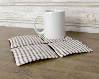 Coasters, set of four, ticking stripe, farmhouse, fabric coasters, farmhouse, drinkware, coaster gift, wedding gift, housewarming gift