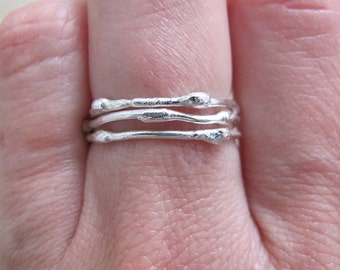 sterling silver stackable twig rings