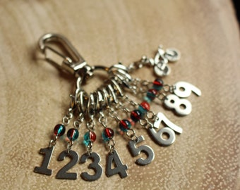 Bicycle Count Keepers - Progress Keepers 1 - 9 - Stainless Steel Knit or Crochet Stitch Markers - Numbers 1-9 - Blue and Red