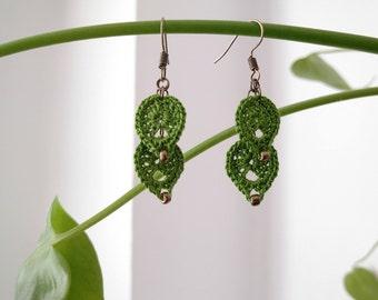 leaves earrings - Natural - 100% handmade - Accessories - Crochet.