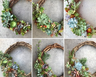 "For birthday or housewarming: 12"" (30cm) Living succulent wreath (MADE TO ORDER)"