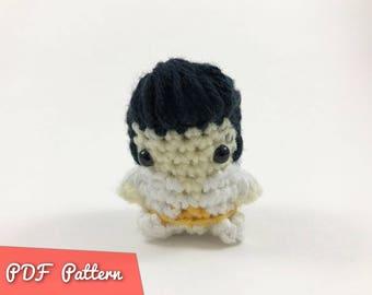 PDF Pattern for Crocheted Elvis Amigurumi Kawaii Keychain Miniature Doll Plush