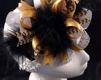 NFL Football Pittsburgh Steelers Black and Gold Over-The-Top Hair Bow Hairbow
