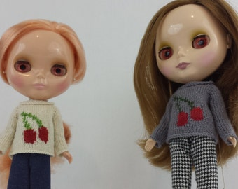 Blythe doll Cherries Sweater knitting PATTERN - cute pullover style cherry sweater - instant download - permission to sell finished items