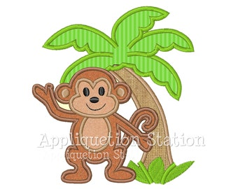 Monkey Palm Tree Tropical Applique Machine Embroidery Design Cute boys or girls Jungle green brown baby animal INSTANT DOWNLOAD