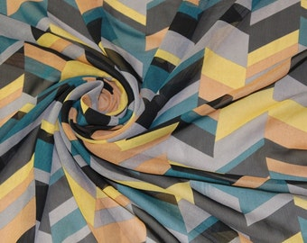 1 Meter chiffon fabric  with colorful zig zag CH0220