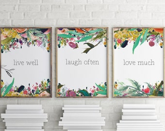 Live Laugh Love Wall Art, Bedroom decor, Set of 3 prints, Wall art, Wedding gifts, Bedroom wall art, Love quote print Anniversary gift BD625