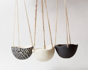 Hanging Planter Indoor Ceramic Hanging Planter ~ Black Plant Pot Black Ceramic  Planter Hanging Planter Indoor