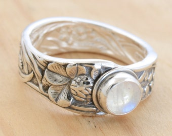 Spoon Ring with Moonstone, Upcycled Sterling Silver, Size 9