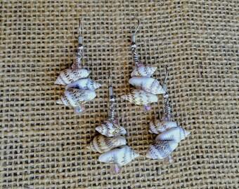 "Three Mini Shells on Surgical Steel Earrings, with Swarvoski Crystal accents, 1-5/8"" or 1.625"" long, Nickle-Free, Fun Fashion Boho, #F316"