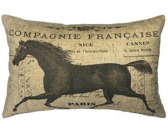 Horse Throw Pillow, Cottage Linen Lumbar Pillow, Rustic