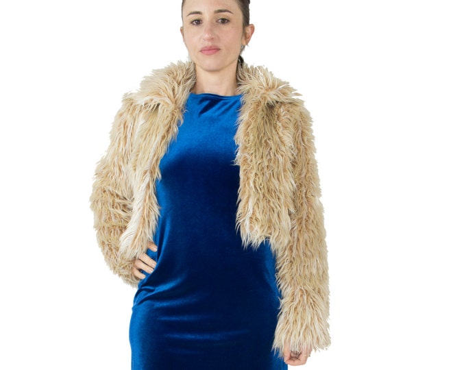 90's Vintage Bebe Shaggy Faux Fur Crop Coat | Brown Fur Jacket | Size Small | Grunge Clothes | Boho Chic | Punk Style