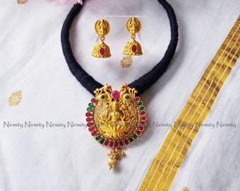 Temple jewelry-imitation jewelry-indian jewelry-metal jewelry-thread jewelry-dori necklace-fashion jewelry-bahubali jewelry