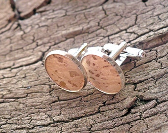 Cork cuff links, environmentally friendly cufflinks, classy cuff links, wedding cufflinks, cork oak, groom's cuff links, groomsmen cufflinks